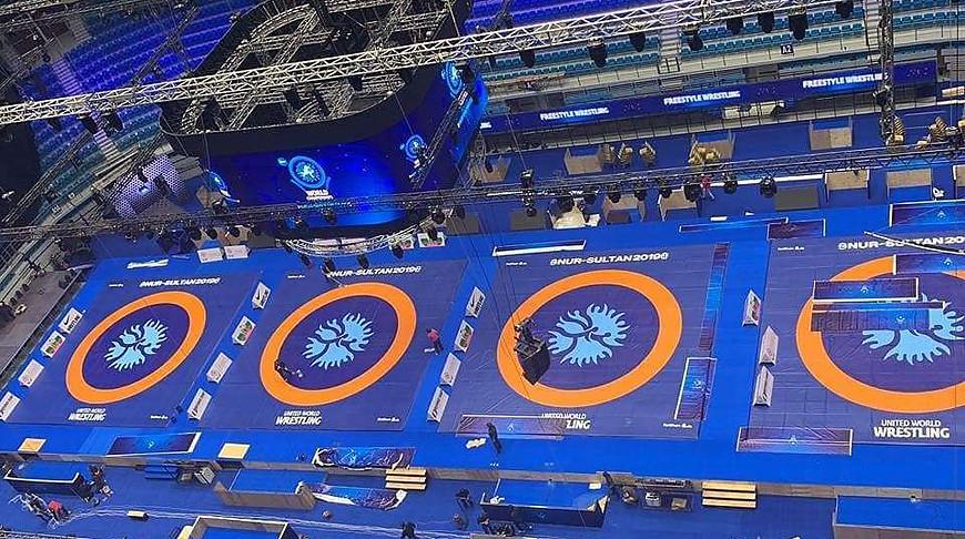 На арене в Нур-Султане. Фото Wrestling Belarus