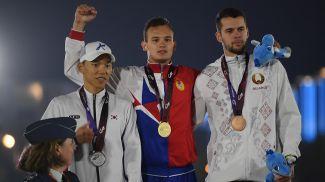 Ли Джи Хун, Александр Лифанов и Кирилл Касьяник. Фото Синьхуа - БЕЛТА