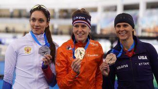 Екатерина Шихова, Ирен Вюст и Бриттани Боу. Фото Белорусского союза конькобежцев