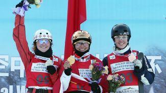 Александра Романовская, Сюй Мэнтао и Лора Пилл. Фото Синьхуа - БЕЛТА