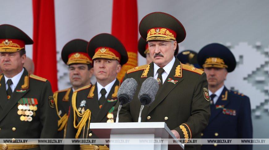 Выступление Президента Беларуси на военном параде в ознаменование 75-й годовщины Великой Победы