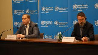 Министр здравоохранения Владимир Караник и глава миссии ВОЗ в Беларуси Патрик О'Коннор