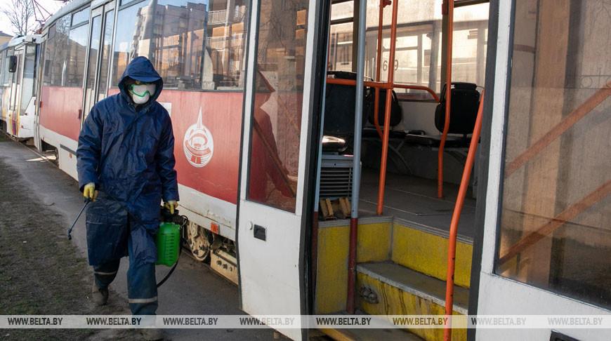 Во время дезинфекции и уборки трамваев