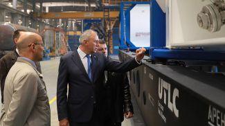 Премьер-министр Сергей Румас и начальник Белорусской железной дороги Владимир Морозов