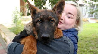 Один из подаренных щенков на руках у вожатой служебной собаки Екатерины Кыба