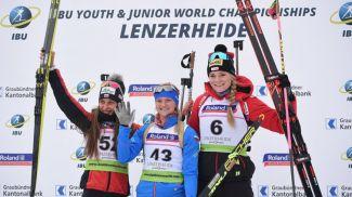 Милена Тодорова, Анастасия Халиуллина и Эми Басерга. Фото IBU