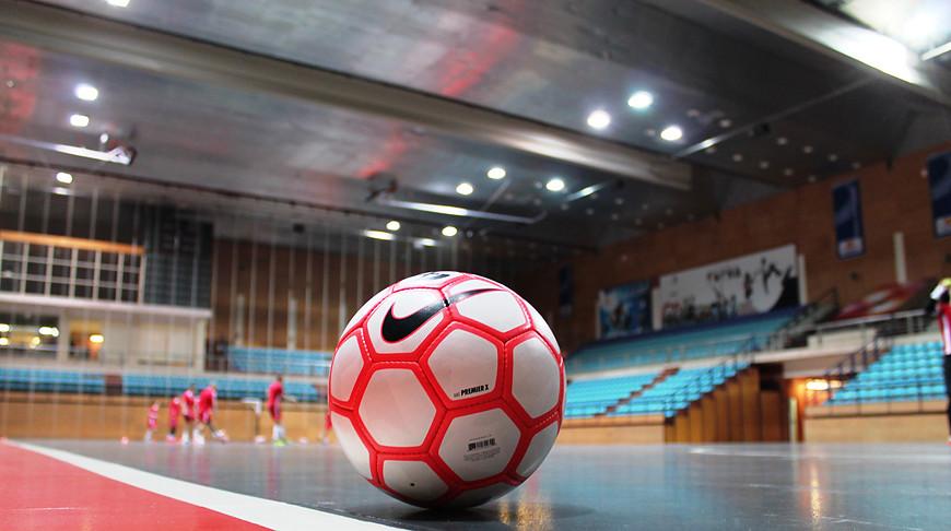 Во время предматчевой тренировки белорусской сборной. Фото Белорусской ассоциации мини-футбола