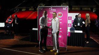 Кики Бертенс и Александра Саснович во время жеребьевки. Фото Белорусской теннисной федерации
