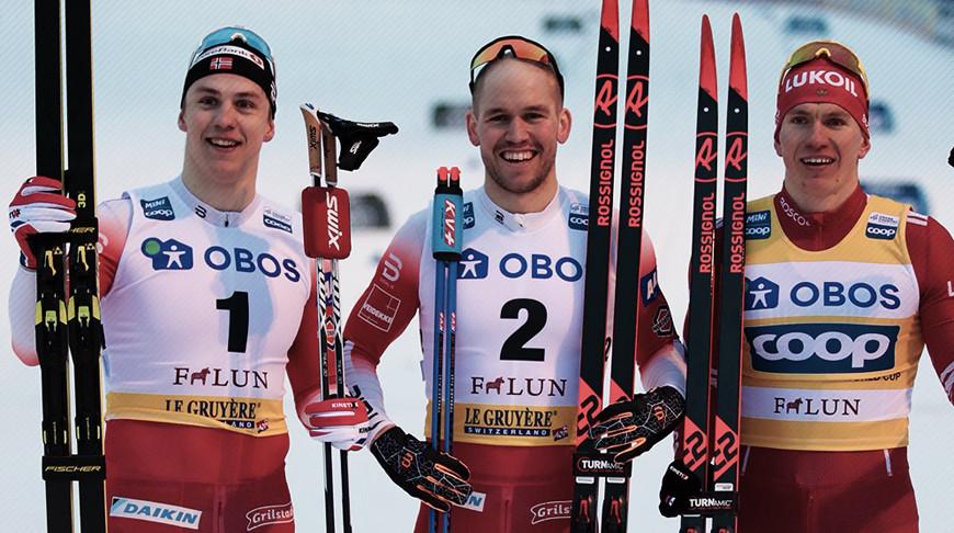 Эрик Вальнес, Пол Гульберг и Александр Большунов. Фото FIS