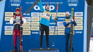 Александр Большунов, Ийво Нисканен и Ханс Кристер Холунд. Фото NordicFocus