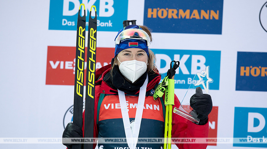 Динара Алимбекова занимает пятое место в общем зачете Кубка мира по биатлону