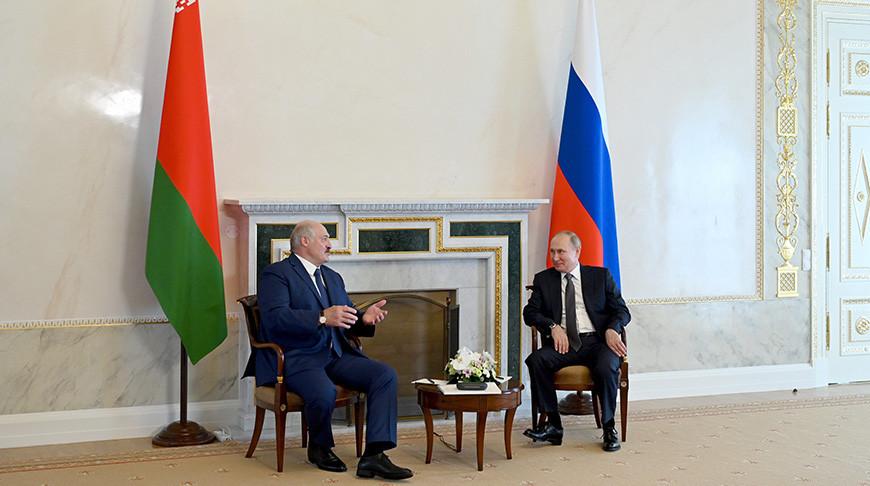 Александр Лукашенко и Владимир Путин. Фото пресс-службы Президента России - БЕЛТА