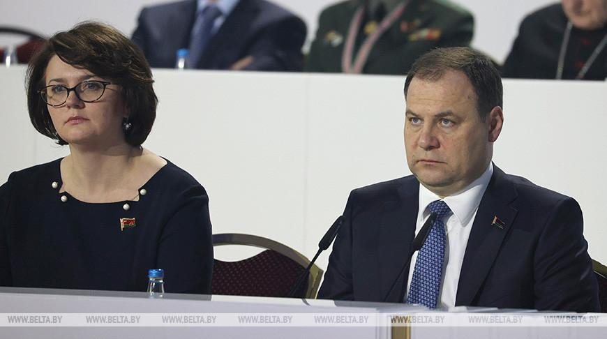 Председатель БСЖ Елена Богдан и премьер-министр Республики Беларусь Роман Головченко