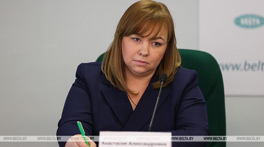 Анастасия Воробьева во время пресс-конференции