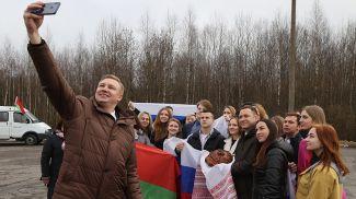 Во время встречи российской делегации на границе