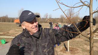 Председатель горисполкома Владимир Цумарев во время субботника