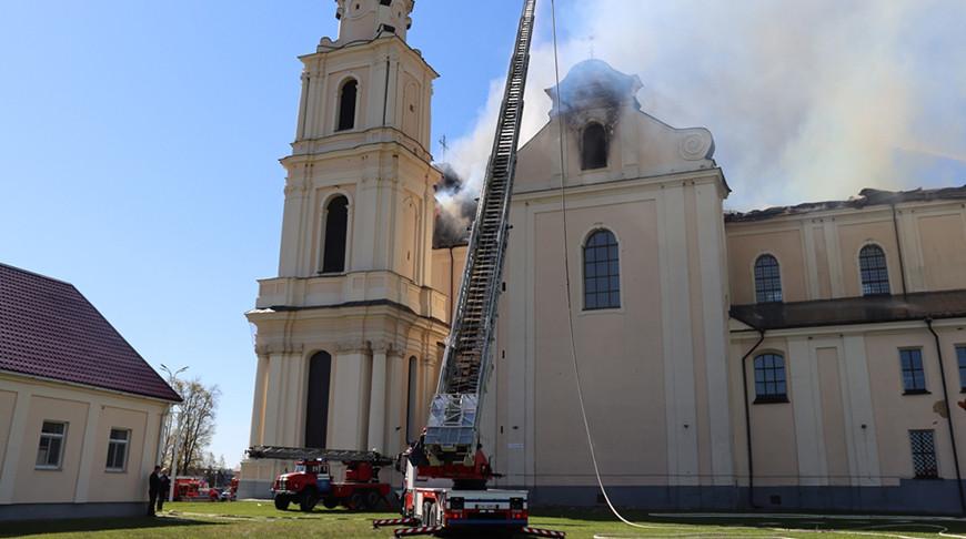 МЧС рассказало о тушении пожара в костеле в Будславе
