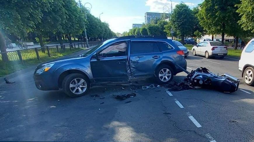 В Новополоцке мотоциклист пострадал при столкновении с легковушкой