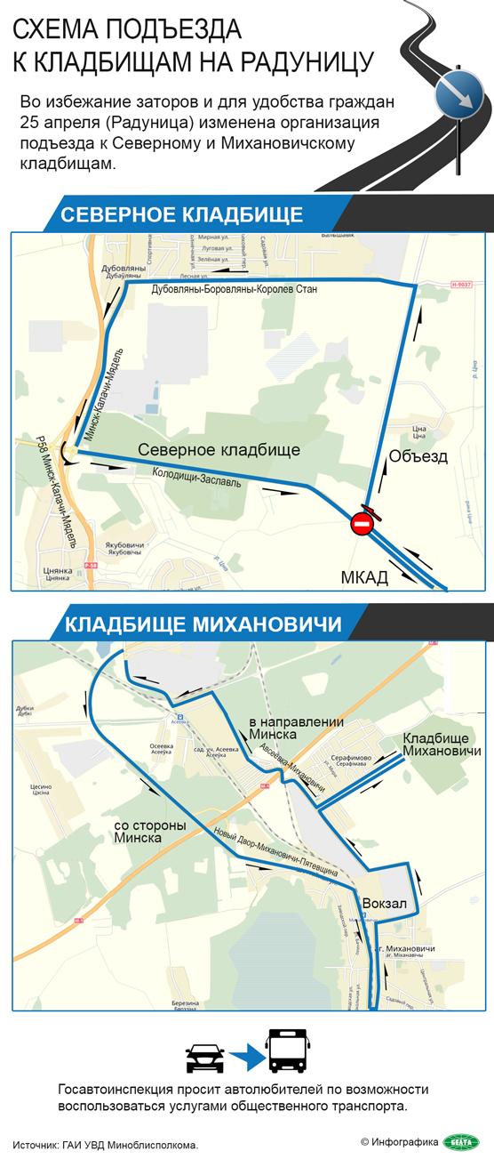 Схема подъезда к кладбищам на Радуницу