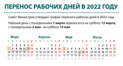 Перенос рабочих дней в 2022 году