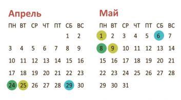 График работы учреждений здравоохранения в выходные и праздничные дни в апреле-мае