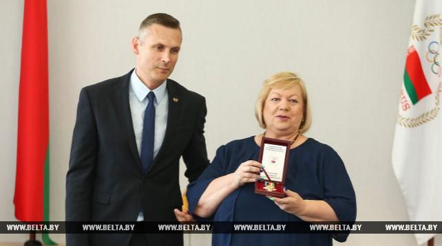 В штаб-квартире НОК Беларуси чествовали Ирину Лепарскую