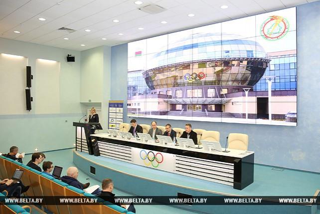 Пресс-конференция в НОК Беларуси об отмене дисквалификации мужской сборной Беларуси по гребле на байдарках и каноэ