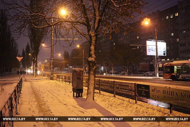 В Гомеле выпал первый снег