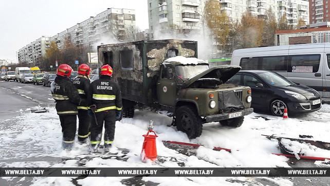 Витебские спасатели ликвидировали возгорание грузовика