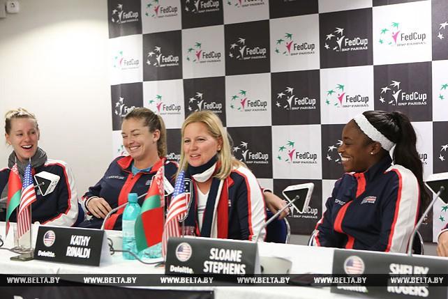 Американские участницы матча Кубка Федерации провели пресс-конференцию в Минске