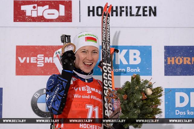 Дарья Домрачева победила в спринте на втором этапе КМ в Хохфильцене