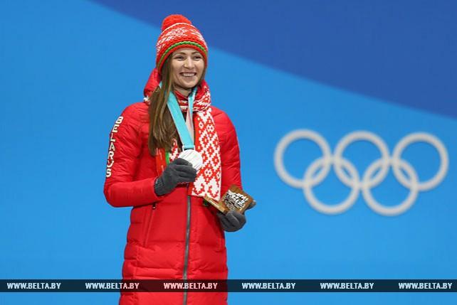 Белорусской биатлонистке Дарье Домрачевой вручена серебряная олимпийская медаль