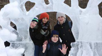 Ледовые скульптуры украсили Ботанический сад в Минске