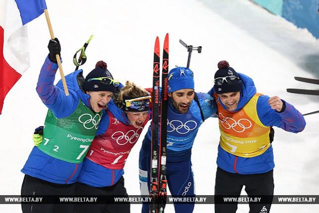 Биатлонисты Франции выиграли смешанную эстафету ОИ-2018, белорусы заняли 5-е место