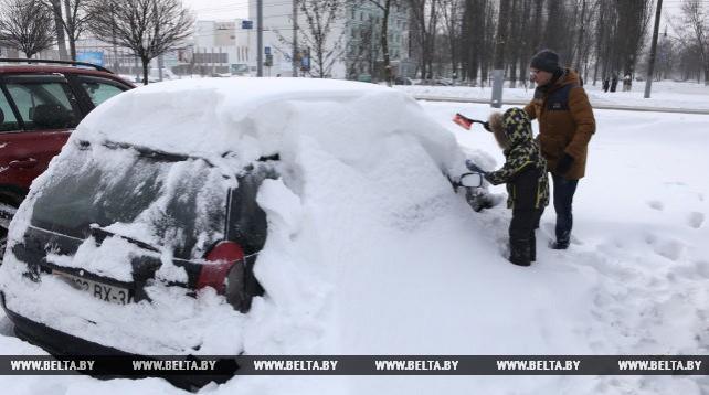 В Гомеле устраняют последствия сильных снегопадов