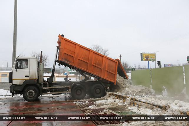 Снегоплавильный пункт Минска работает круглосуточно