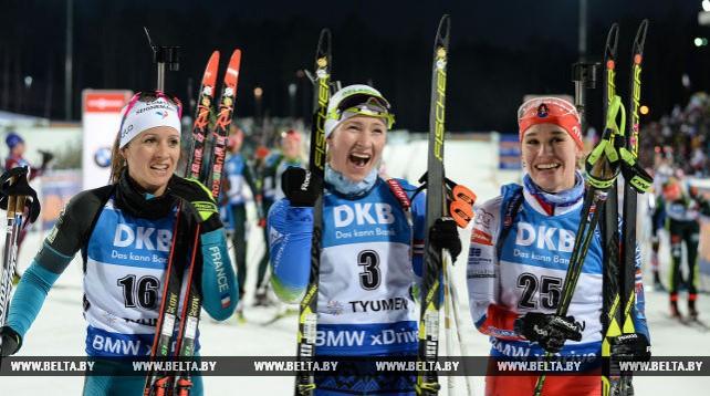 Дарья Домрачева выиграла заключительную гонку с массового старта на этапе КМ в Тюмени