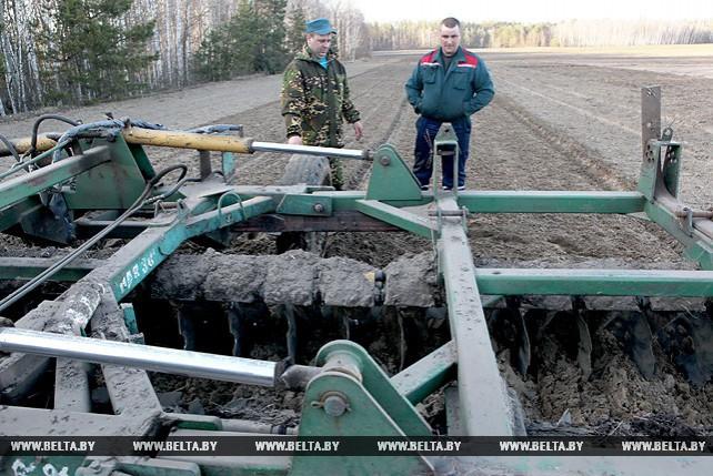 """Работники совхоза """"Коммунист"""" Ельского района начали сев овса"""