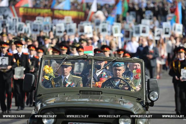 Около 10 тыс. участников собрало праздничное шествие ко Дню Победы в Витебске