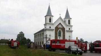 В Гродненском районе спасатели ликвидировали пожар в храме 19-го века