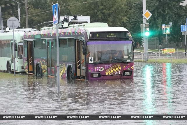 Ливень в Гомеле подтопил городские улицы