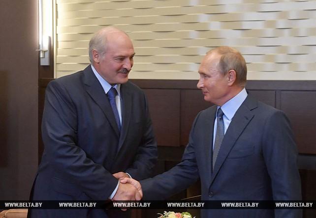 Александр Лукашенко на переговорах с Владимиром Путиным в Сочи