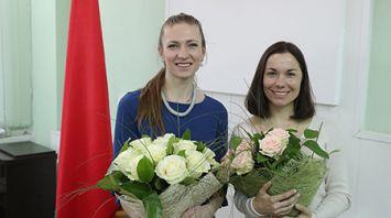 Дарью Домрачеву и Надежду Скардино чествовали в Минспорта
