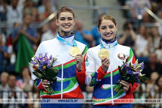 Гончарова и Махаринская выиграли золото в синхронных прыжках на батуте II Европейских игр