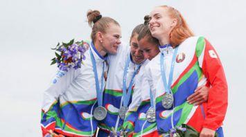 Белоруски выиграли серебро в байдарке-четверке на II Европейских играх