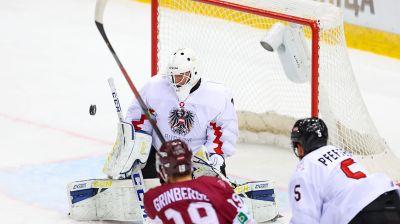 Сборная Австрии победила команду Латвии в матче 4-го тура молодежного ЧМ по хоккею в Минске