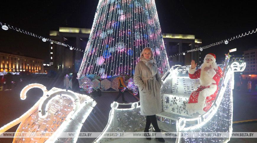Минчане у новогодней елки