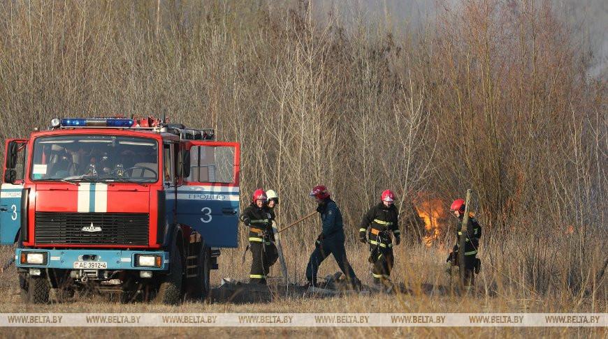 Спасатели ликвидировали возгорание сухой растительности в Гродно
