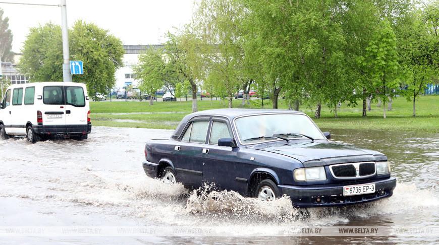 Ливень затопил улицы в Гомеле