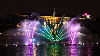 Церемония закрытия светомузыкального фонтана на Свислочи в Минске